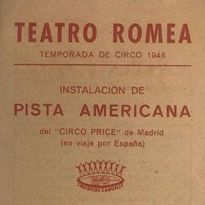1948 Teatro Romea. Programa de mano. Compañía Internacional de Circo y Fieras 10,7x21,6 cm