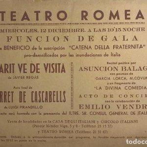 Teatro Romea. Programa de mano. El marit ve de visita. El barret de cascabells 21,7x15,7 cm