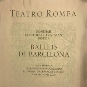 1952 Teatro Romea. Programa de mano. Ballets de Barcelona 17,3x22,3 cm