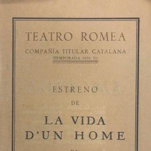 1952 Teatro Romea. La vida d'un home 13,8x21,9 cm