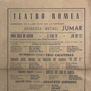 Teatro Romea. Programa de mano. Grandiosa matinal 21,6x31,4 cm