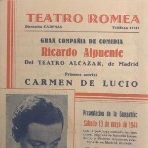1944 Teatro Romea. Programa de mano. Carmen de Lucio 10,9x13,7 cm