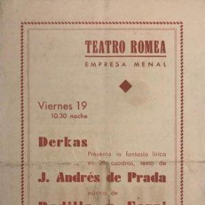 Teatro Romea. Programa de mano. Melodias para ti . J.Andrés de Prada. Padilla y Ferri