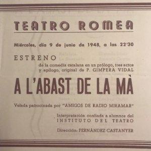1948 Teatro Romea. Programa de mano. A l'abast de la mà. Fernandez Castanyer