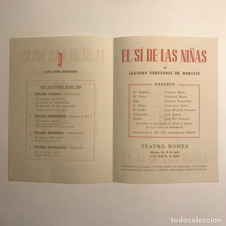 1948 Teatro Romea. Programa de mano. El sí de las niñas. Leandro Fernández de Moratín - 153272302