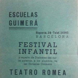 1945 Teatro Romea. Programa de mano. El monaguillo de Montserrat. Festival infantil Escuelas Guimerá
