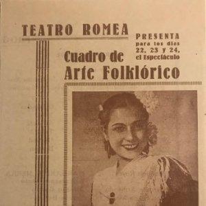 Teatro Romea. Programa de mano. Cuadro de Arte Folklórico. Margarita Sierra