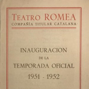 1951 Teatro Romea. Programa de mano. La filla del carmesí. Josep Maria de Sagarra