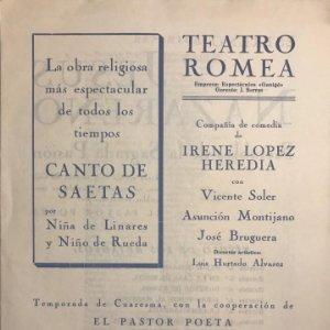 Teatro Romea. Programa de mano. Jesús Nazareno. Retablos de la Sagrada Pasión