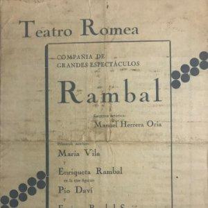 Teatro Romea. Programa de mano. Rambal 15,4x21,6 cm