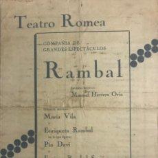 Coleccionismo: TEATRO ROMEA. PROGRAMA DE MANO. RAMBAL 15,4X21,6 CM. Lote 153272826
