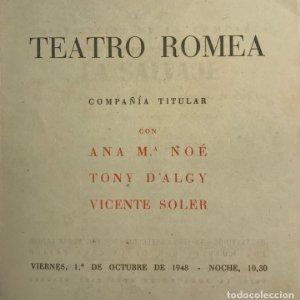 Teatro Romea. Programa de mano. La salvaje 13,9x14,3 cm