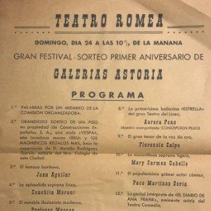 Teatro Romea. Programa de mano. Gran festival sorteo primer aniversario de Galerías Astoria