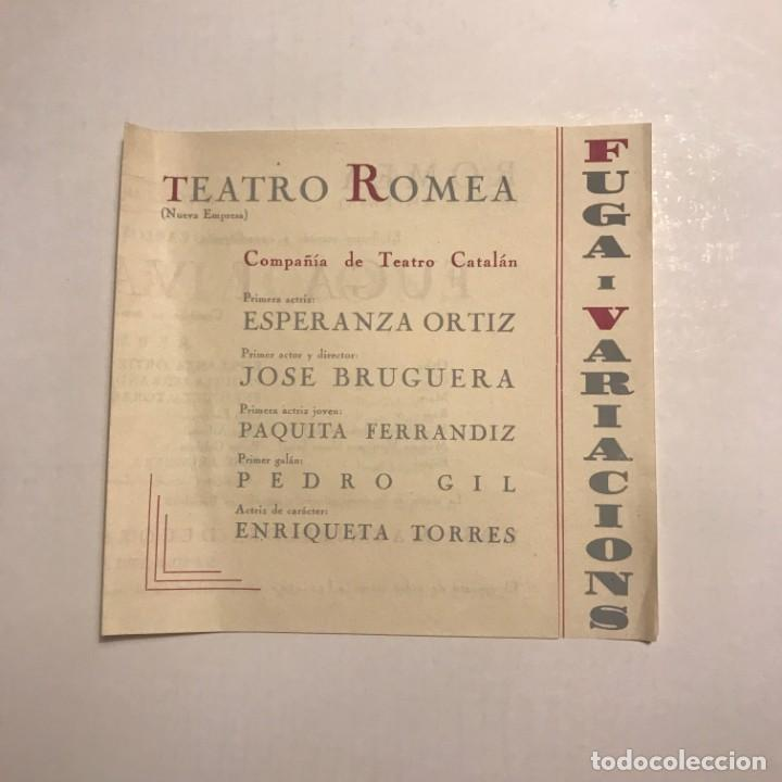 Teatro Romea. Programa de mano. Compañía de Teatro Catalán. Fuga i Variacions - 145206222