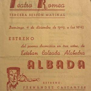 1949 Teatro Romea. Programa de mano. Tercera sesión matinal. Albada
