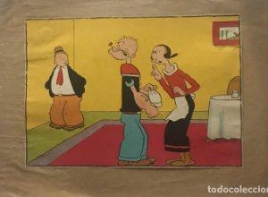 Ilustración antigua Popeye y Olivia 25x36 cm
