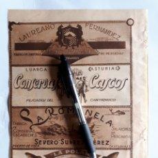 Coleccionismo: ASTURIAS. HOJA CON PUBLICIDAD. 1934. Lote 153549454