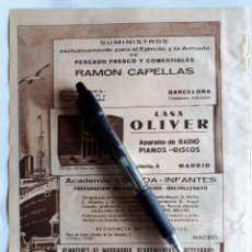 Coleccionismo: HOJA CON PUBLICIDAD (BARCELONA, MADRID, GIJÓN) 1934. Lote 153552734
