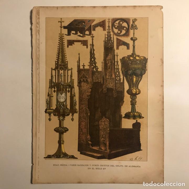 Edad Media. Vasos sagrados y otros objetos de culto de Alemania en el siglo XV 22,3x30,3 cm - 153589526