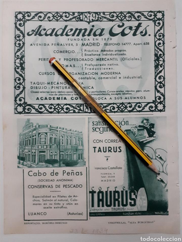 HOJA DE BLANCO Y NEGRO, CON PUBLICIDAD (MADRID, ASTURIAS) 1934 (Coleccionismo - Laminas, Programas y Otros Documentos)