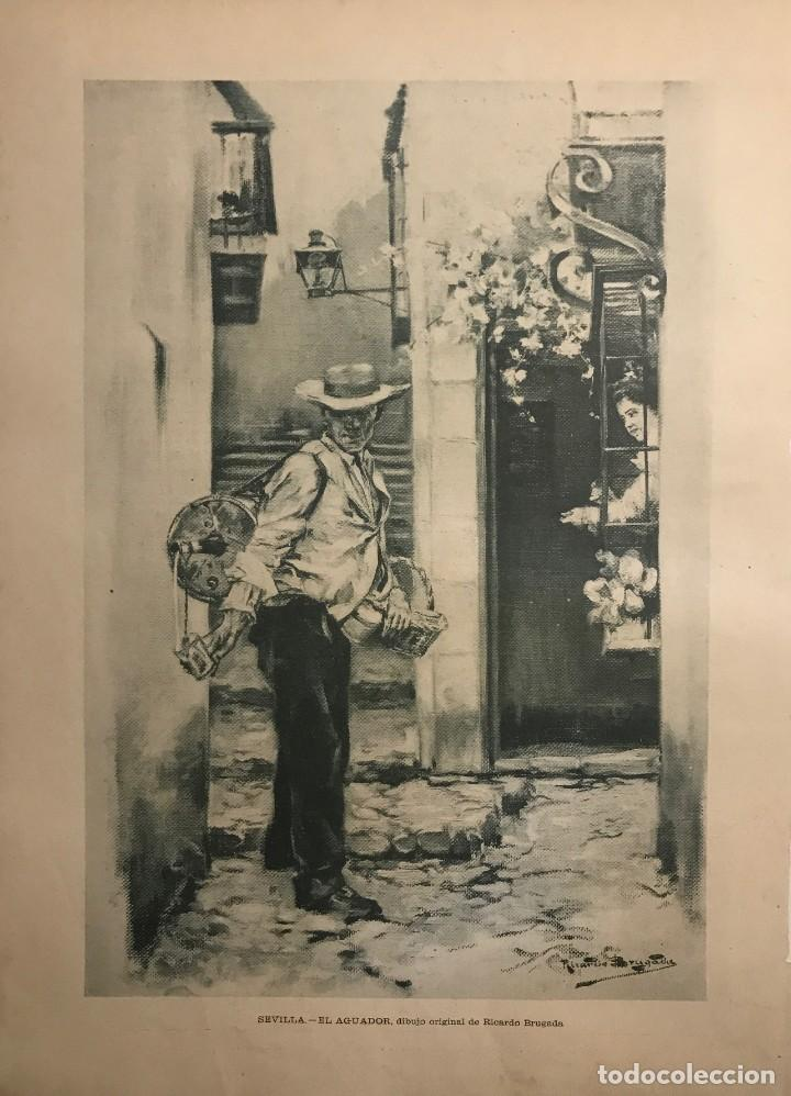 Reproducción grabado época. Sevilla. El aguador 27,6x37,5 cm