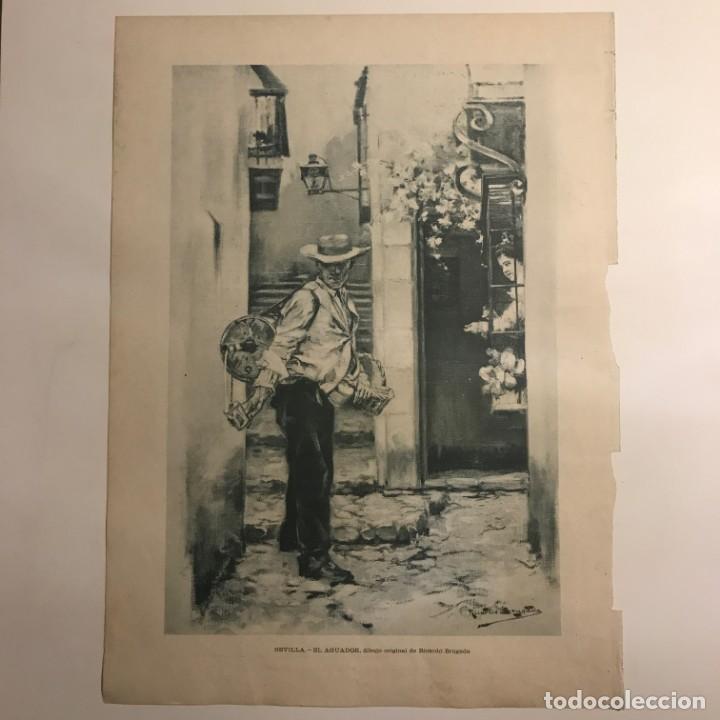 Coleccionismo: Reproducción grabado época. Sevilla. El aguador 27,6x37,5 cm - Foto 2 - 153606114