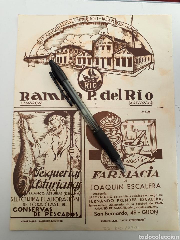 ASTURIAS. HOJA CON PUBLICIDAD (LUARCA, LUANCO, GIJÓN) 1934 (Coleccionismo - Laminas, Programas y Otros Documentos)