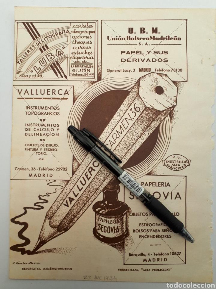 MADRID. HOJA CON PUBLICIDAD. 1934 (Coleccionismo - Laminas, Programas y Otros Documentos)