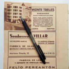 Coleccionismo: HOJA CON PUBLICIDAD (LUARCA, MADRID) 1934. Lote 153786956