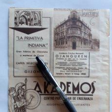 Coleccionismo: HOJA CON PUBLICIDAD (GIJÓN, OVIEDO, MADRID) 1934. Lote 153819960