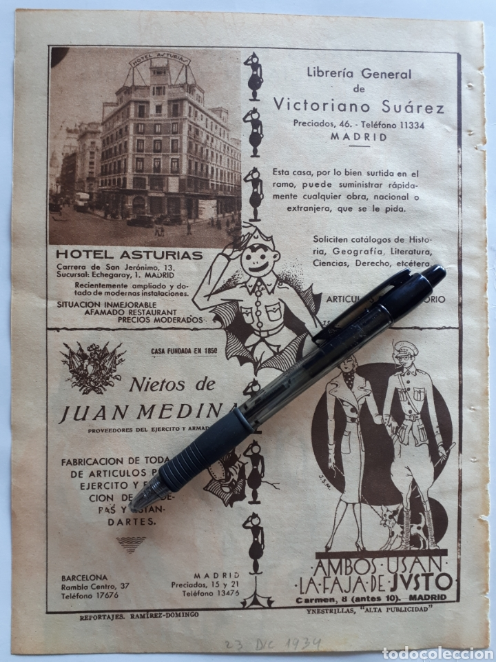 HOJA CON PUBLICIDAD PATRIÓTICA (MADRID) 1934 (Coleccionismo - Laminas, Programas y Otros Documentos)