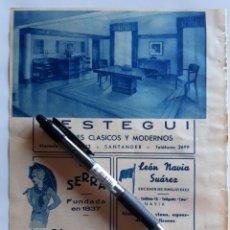 Coleccionismo: HOJA CON PUBLICIDAD (SANTANDER, NAVIA, MADRID) 1934. Lote 153820568