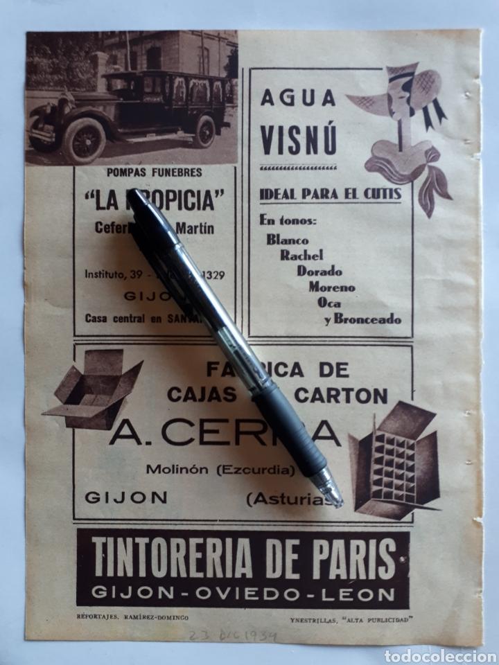 ASTURIAS. HOJA CON PUBLICIDAD. 1934 (Coleccionismo - Laminas, Programas y Otros Documentos)