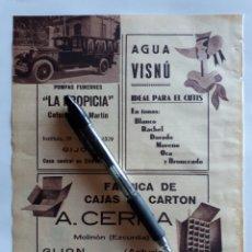 Coleccionismo: ASTURIAS. HOJA CON PUBLICIDAD. 1934. Lote 153821440