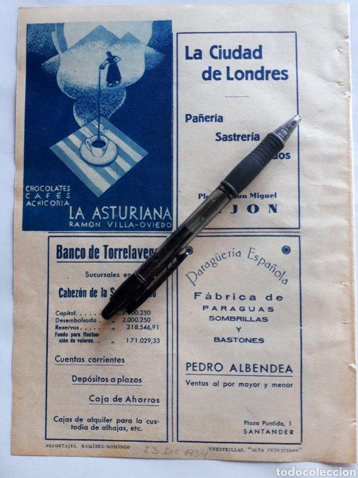 HOJA CON PUBLICIDAD (ASTURIAS, CANTÁBRIA) 1934 (Coleccionismo - Laminas, Programas y Otros Documentos)