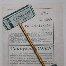 Coleccionismo: JAÉN. HOJA CON PUBLICIDAD. 1934. Lote 153893502