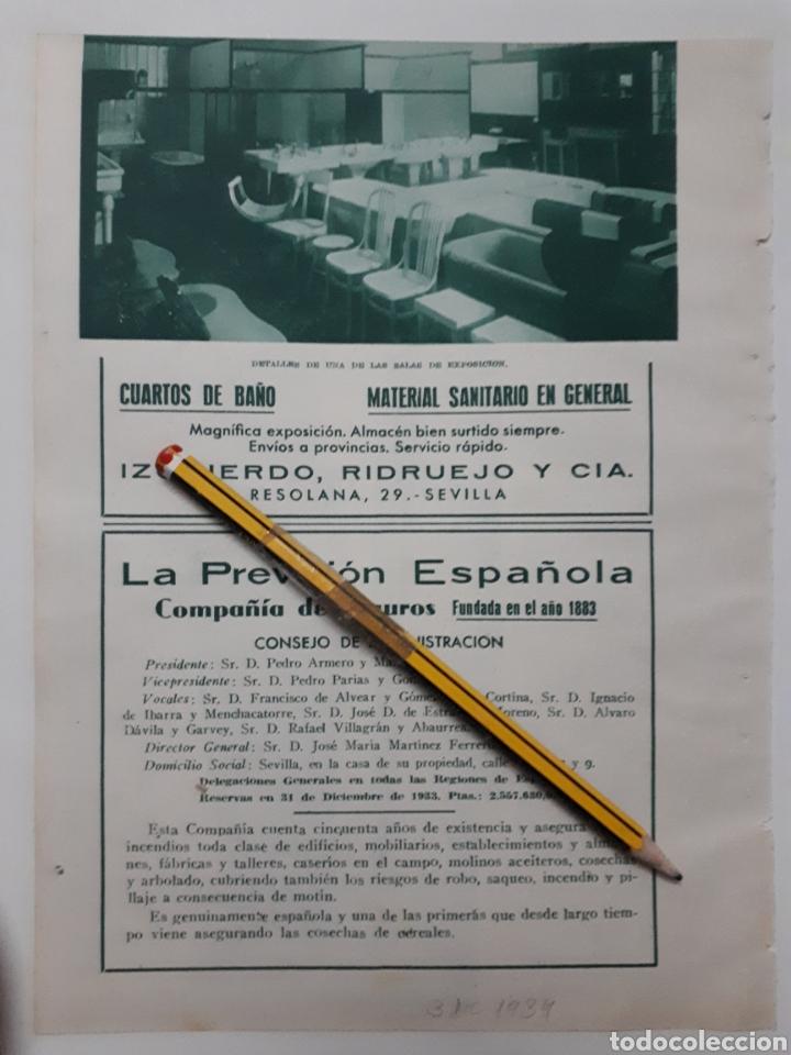 SEVILLA. HOJA CON PUBLICIDAD. 1934 (Coleccionismo - Laminas, Programas y Otros Documentos)