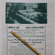 Coleccionismo: SEVILLA. HOJA CON PUBLICIDAD. 1934. Lote 153895274