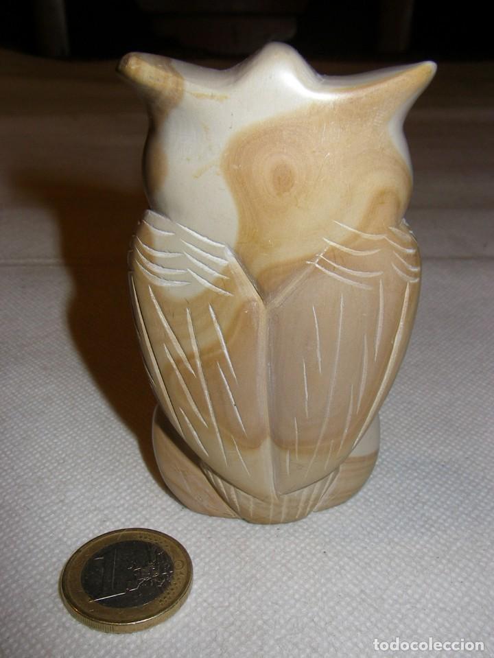 Coleccionismo: Preciosa figura de buho en piedra esteatita bicolor, 9 x 5,5 cm. - Foto 3 - 153895822