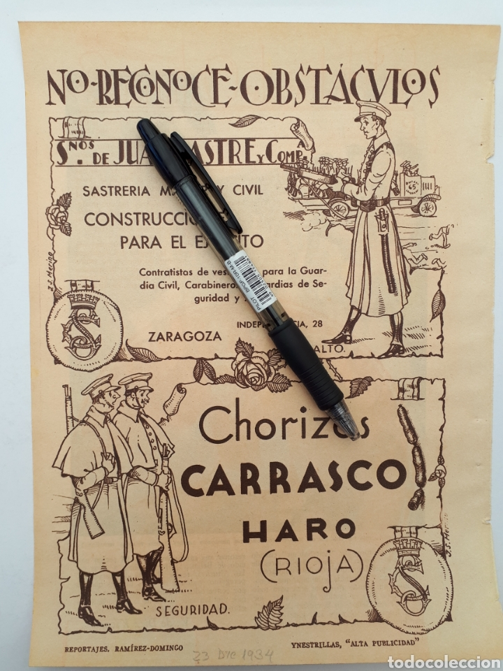 HOJA CON PUBLICIDAD PATRIÓTICA (LA RIOJA, ZARAGOZA) 1934 (Coleccionismo - Laminas, Programas y Otros Documentos)