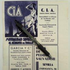 Coleccionismo: SEVILLA. HOJA CON PUBLICIDAD. 1934. Lote 154237136