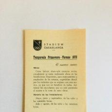 Coleccionismo: STADIUM CASABLANCA. TEMPORADA PRIMERA-VERANO. ZARAGOZA, 1972. Lote 154382286