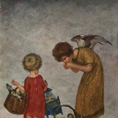 Coleccionismo: LÁMINA ÉPOCA MOTIVO INFANTIL. KARL PLÜCKEBAUM 34X41,6 CM. Lote 155003942