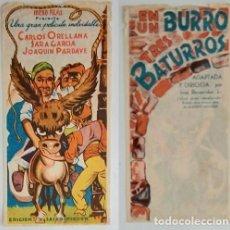 Coleccionismo: PROGRAMA DE CINE DE MANO EN UN BURRO TRES BATURROS. Lote 155277050