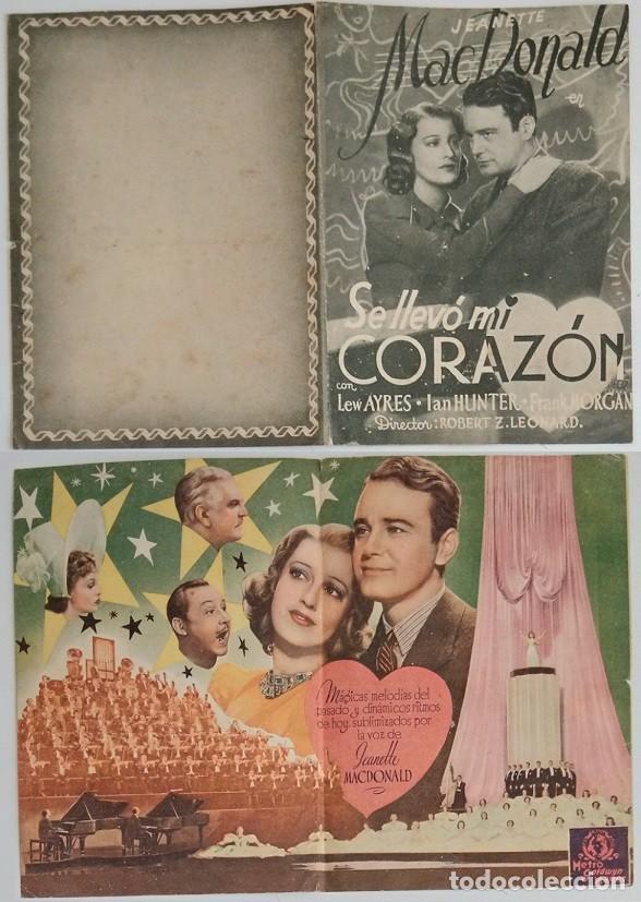 PROGRAMA DE CINE DE MANO SE LLEVÓ MI CORAZÓN (Coleccionismo - Laminas, Programas y Otros Documentos)