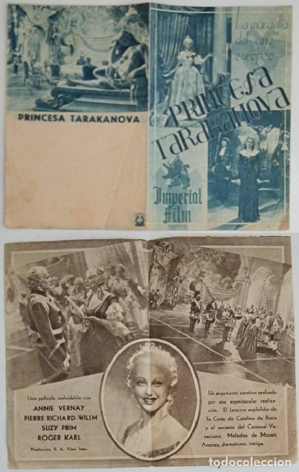 PROGRAMA DE CINE DE MANO PRINCESA TARAKANOVA (Coleccionismo - Laminas, Programas y Otros Documentos)