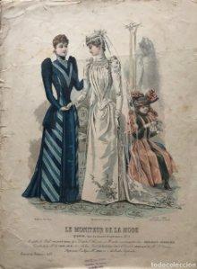 1890 Antigua lámina moda. Vestido de novia 29,3×38,8 cm