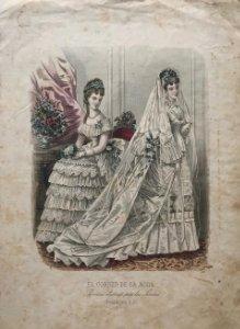 Antigua lámina moda. Vestido de novia 25,9×36,9 cm