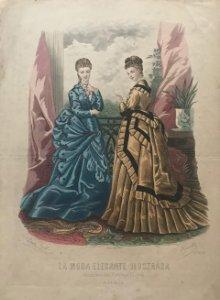 1874 Antigua lámina moda 26,3×36,8 cm