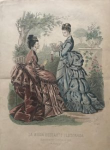 1874 Antigua lámina moda 26,2×36,8 cm